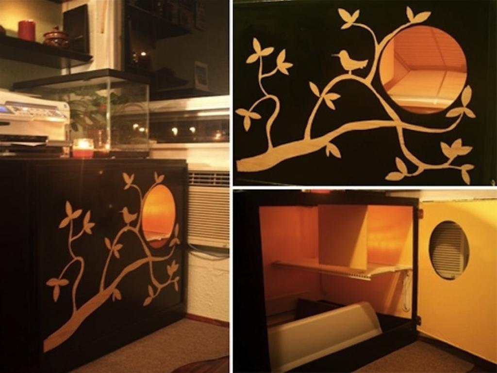 27 solutions pour dissimuler le bac liti re de votre. Black Bedroom Furniture Sets. Home Design Ideas