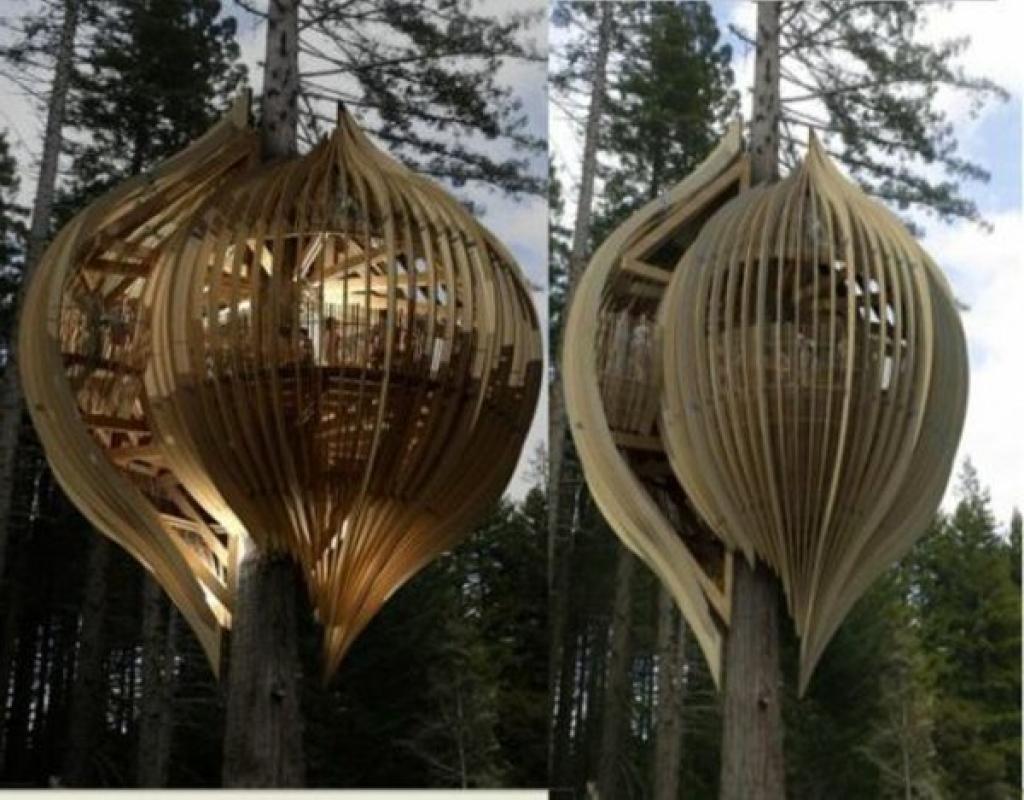 18 cabanes dans les arbres au design surprenant des id es - Cabane dans les arbres avec salle de bain ...