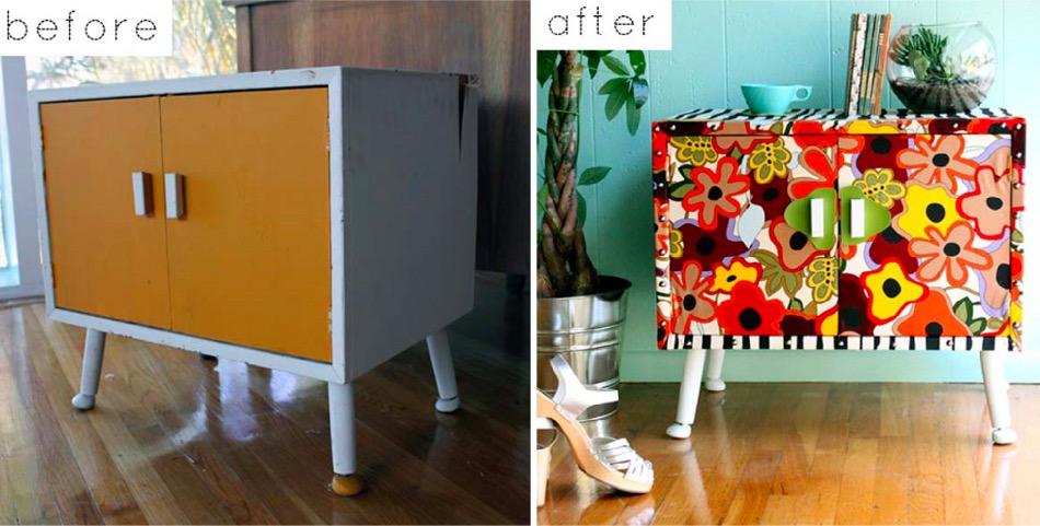 Avant apr s 25 meubles relook s avec du papier peint for Le pere du meuble