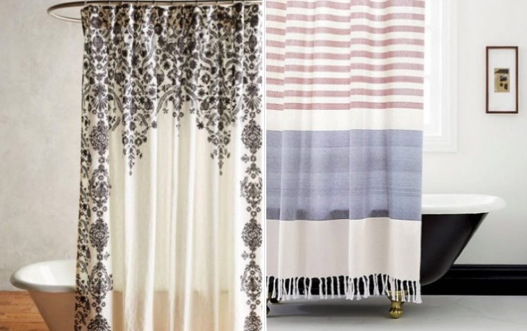 15 rideaux de douche pour une salle de bain tendance des. Black Bedroom Furniture Sets. Home Design Ideas
