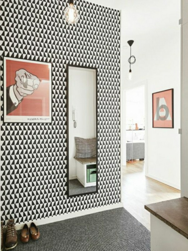 decoration-couloir-papier-peint-graphique - Des idées