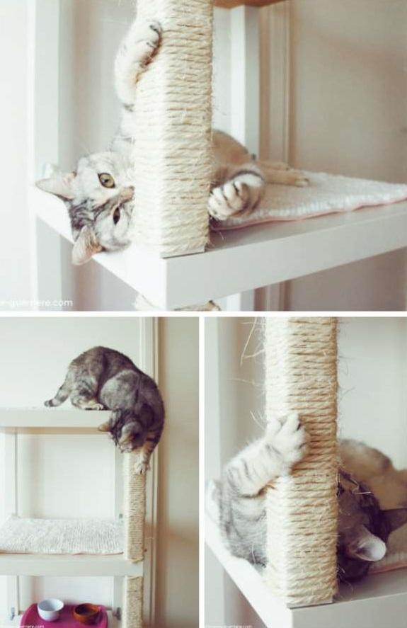 Arbre a chat fait maison luimage en grand hamac chat - Griffoir chat fait maison ...
