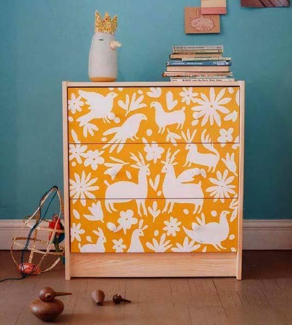 Avant apr s 25 meubles relook s avec du papier peint for Papier peint sur meuble