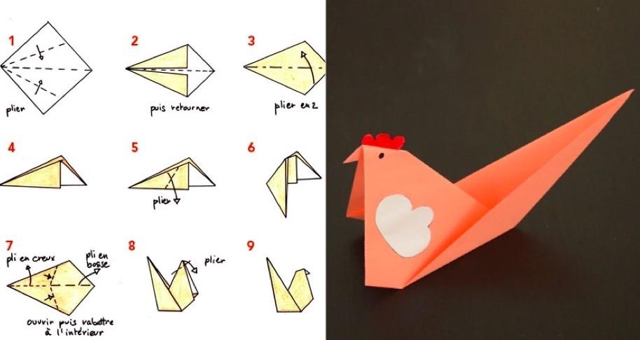 Tuto sp cial p ques fabriquez une poule en origami des id es - Comment faire une poule en papier ...