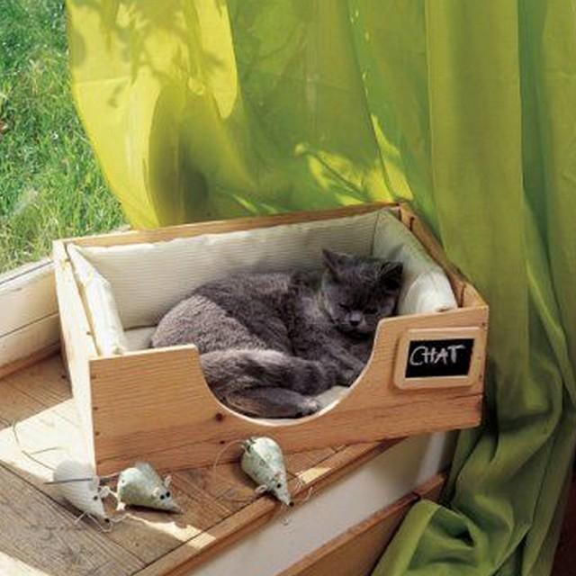 16 lits faits maison rien que pour votre chat page 2 sur 3 des id es. Black Bedroom Furniture Sets. Home Design Ideas