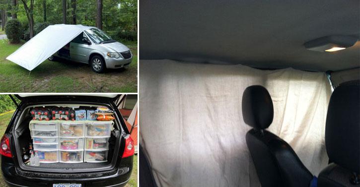 30 id es de g nie pour tous ceux et celles qui campent avec leur voiture. Black Bedroom Furniture Sets. Home Design Ideas