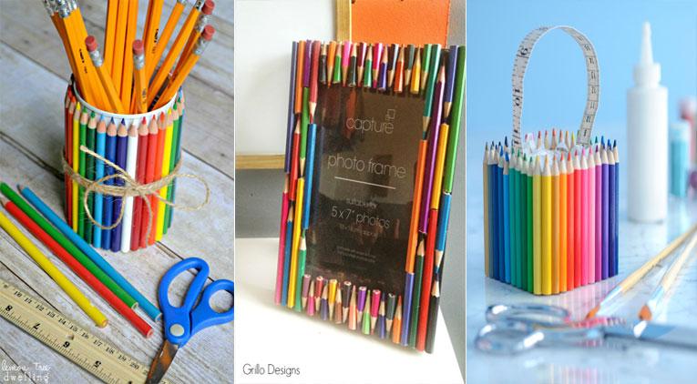 10 bricolages d coratifs et pratiques pour recycler vos vieux crayons. Black Bedroom Furniture Sets. Home Design Ideas