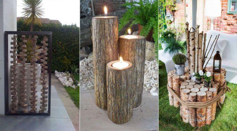 10 meubles et d corations de jardin faire avec des rondins - Meuble en rondin de bois ...