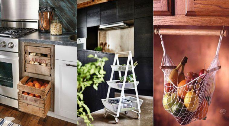 14 id es de rangements pour fruits et l gumes id ales pour une petite cuisine. Black Bedroom Furniture Sets. Home Design Ideas