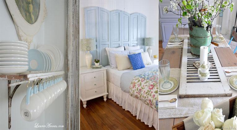 15 mani res de r utiliser un vieux volet dans votre maison. Black Bedroom Furniture Sets. Home Design Ideas