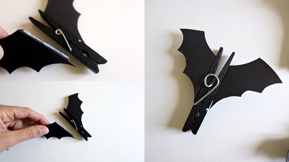 pour halloween d corez votre int rieur avec des chauves souris faites partir de pinces. Black Bedroom Furniture Sets. Home Design Ideas