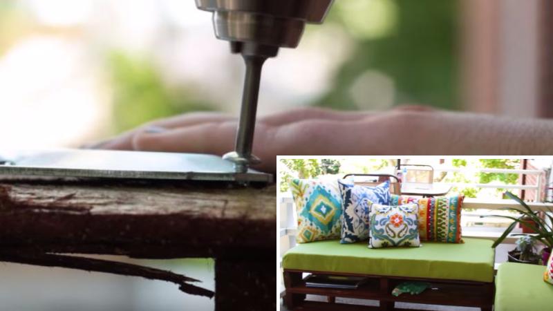 avec des palettes en bois fabriquez des assises confortables pour votre patio ou balcon. Black Bedroom Furniture Sets. Home Design Ideas