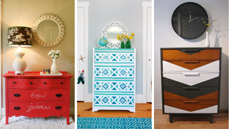 15 plus belles id es de peinture pour rafra chir votre vieille commode. Black Bedroom Furniture Sets. Home Design Ideas
