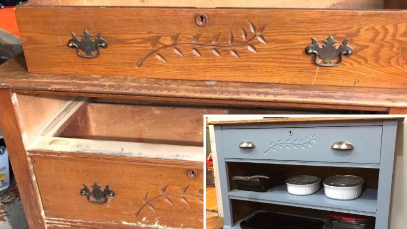 elle donne un nouveau look sa vieille commode et l 39 utilise ensuite comme meuble de cuisine. Black Bedroom Furniture Sets. Home Design Ideas