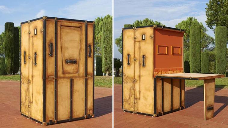 d couvrez une surprenante malle transportant un v ritable studio des id es. Black Bedroom Furniture Sets. Home Design Ideas