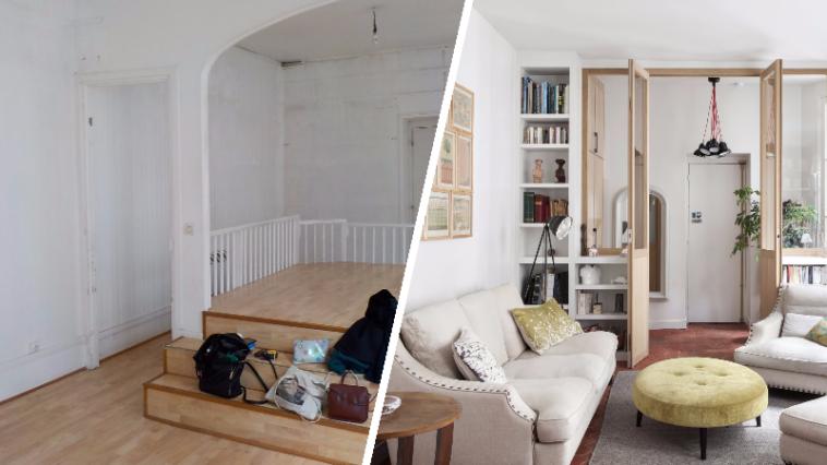 avant apr s la belle m tamorphose d 39 un appartement parisien d fra chi des id es. Black Bedroom Furniture Sets. Home Design Ideas