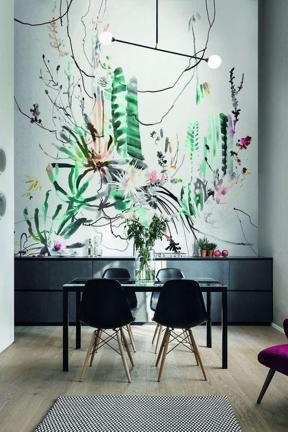 envie d 39 un peu de verdure optez pour un papier peint. Black Bedroom Furniture Sets. Home Design Ideas