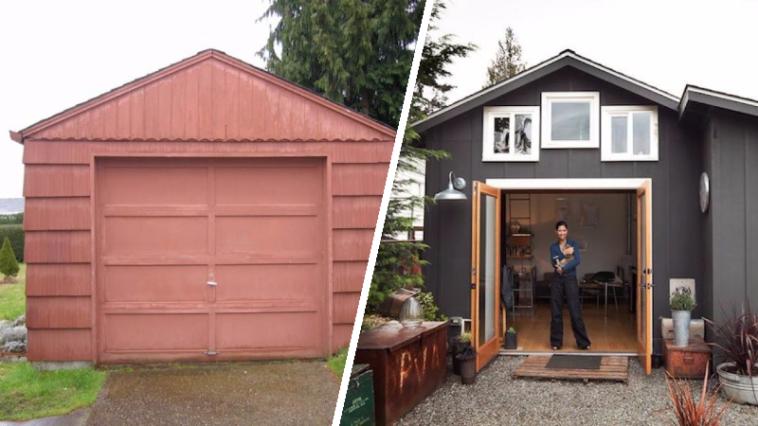 d couvrez la transformation d 39 un garage en une jolie petite maison des id es. Black Bedroom Furniture Sets. Home Design Ideas