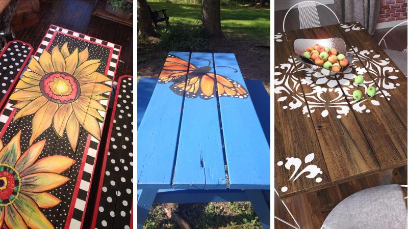 17 belles id es pour repeindre sa table de pique nique en bois page 3 sur 3 des id es. Black Bedroom Furniture Sets. Home Design Ideas