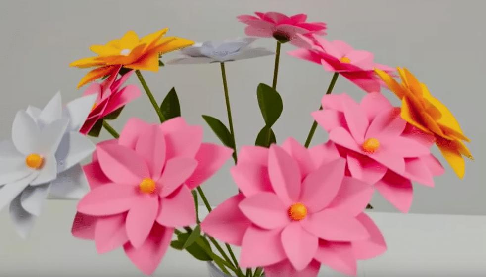 bouquet de fleurs papier