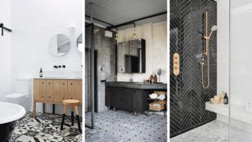 salle de bains noir et blanc