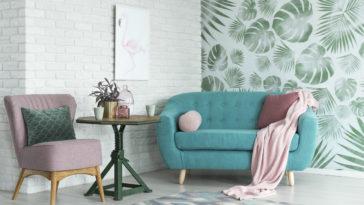salon déco jungle papier peint turquoise