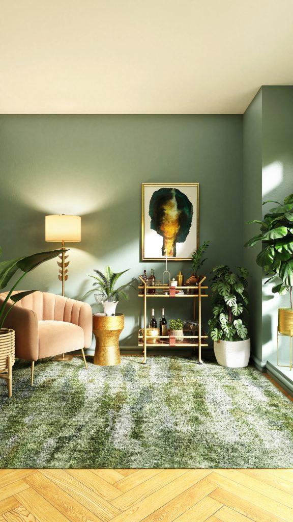 tableau sur mur vert dans un salon